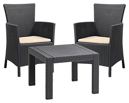 Allibert by Keter - Rosario Outdoor 2 Seat Rattan Balcony Garden Furniture Set £68.78 @ Amazon