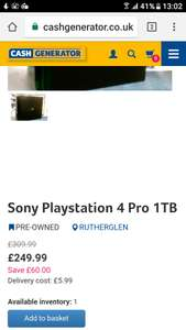 Sony Playstation 4 Pro 1TB USED ONLY 1 IN STOCK £255.98 at Cash Generator