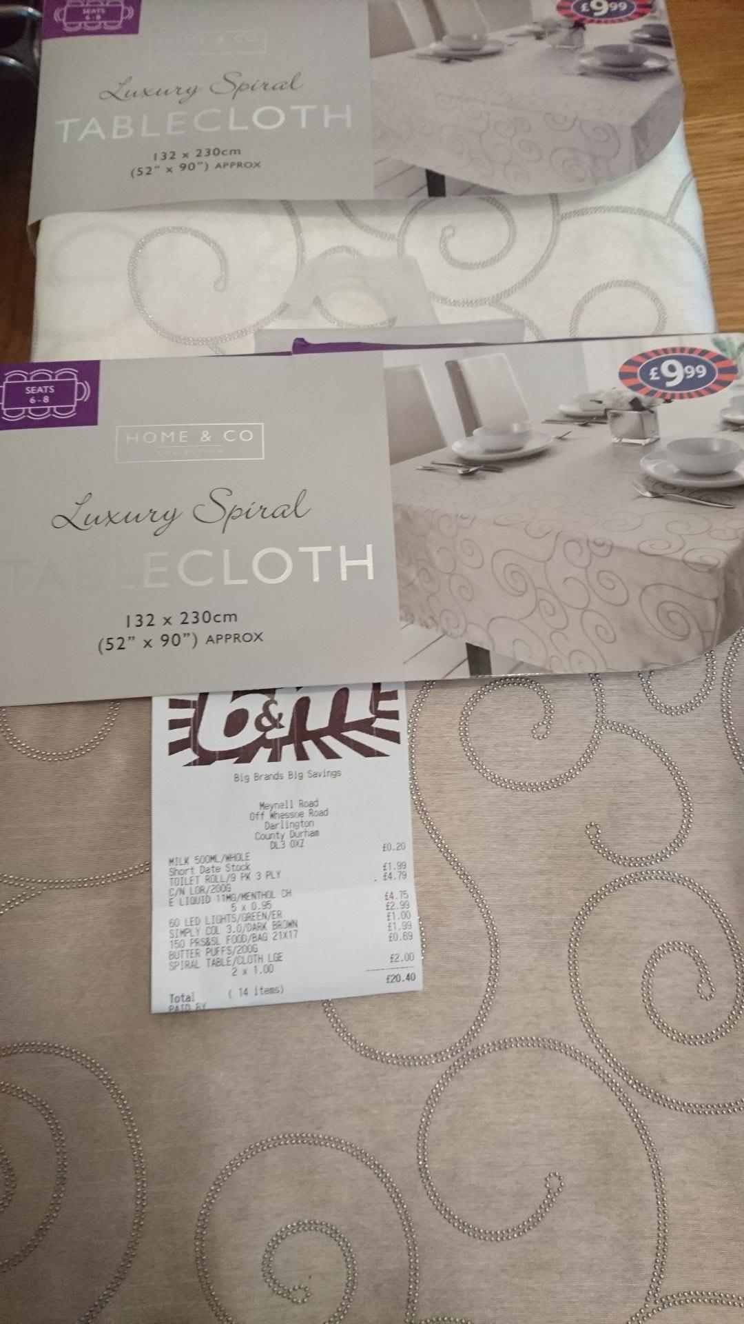 "Luxury spiral Tablecloth (52""x90"") £1 @ B&M"