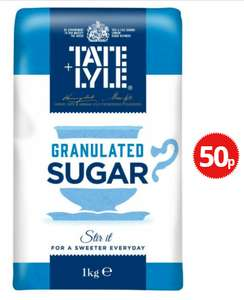 TATE AND LYLE GRANULATED SUGAR 1KG 50p @ Poundstretcher