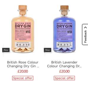 Lavender and rose colour changing gin now £20 each free c&c @ Marks and Spencer