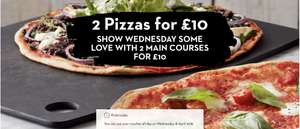 Two main courses for £10 at Pizza Express today (18 April 2018) only