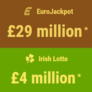 3 EuroJackpot Bets & 1 Irish Lotto bet for £1 OR 5 Rows Cash4Life for £1 @ Mylotto24 (New Customer offer)