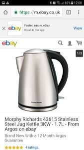 Morphy Richards 43615 Stainless Steel Jug Kettle 3KW - 1.7L £16.99 - From Argos / ebay Brand New With a 12 Month Argos Guarantee + free postage