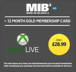 Xbox Live Gold 12 Month Membership with Men in Black 3 HD Rental  £28.99 @ Rakuten