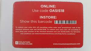 20% off all prices in store and online at  Mountain Warehouse