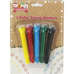 Christmas Roller Stamp Markers - Pack Of 5 -40p using code Vacm20 @The Works -Free C+C