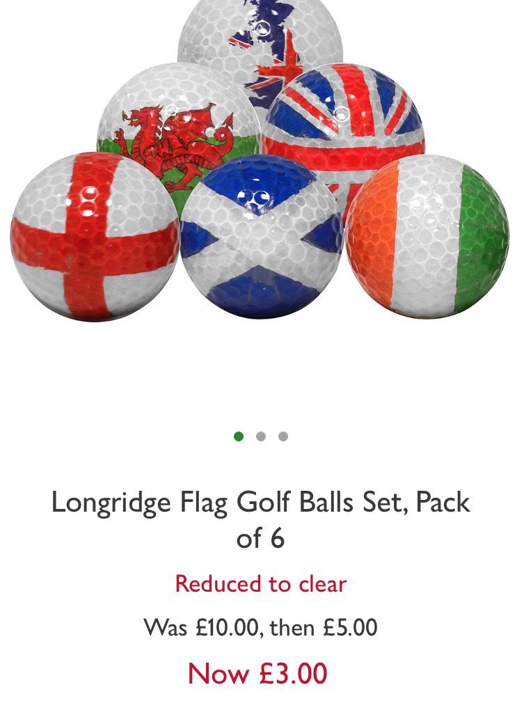 Set of 6 novelty Longridge Flag  Golf Balls reduced £3 online at John Lewis - £2 c&c