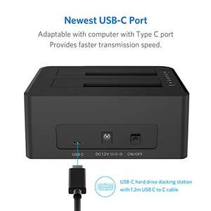 Inateck USB C 3.1 to SATA Dual-Bay Hard Drive Type C Docking Station with Offline Clone Function for 2.5 / 3.5 Inch HDD SSD SATA (SATA I/ II/ III), Support 2x 8TB and UASP, with 12V/3A Power Adapter, £34.99 Sold by Inateck and Fulfilled by Amazon