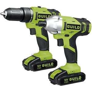 Guild 18v cordless combi drill and impact driver kit with batteries, charger and toolbag just £76.99 at Argos ebay clearance.