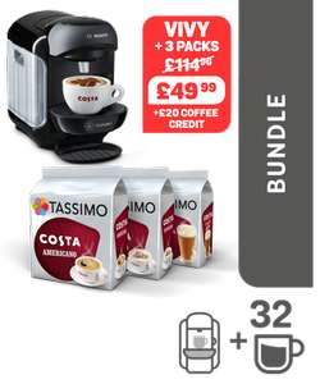 Tassimo VIVI 2 Coffee Machine + 3 packs of Costa Coffee + 2x £10 Coffee Vouchers @ Tassimo (Black or White)