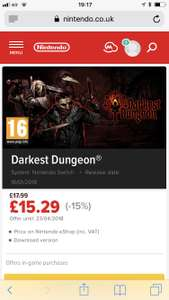 Darkest dungeon (Switch) £15.29 - Nintendo eshop