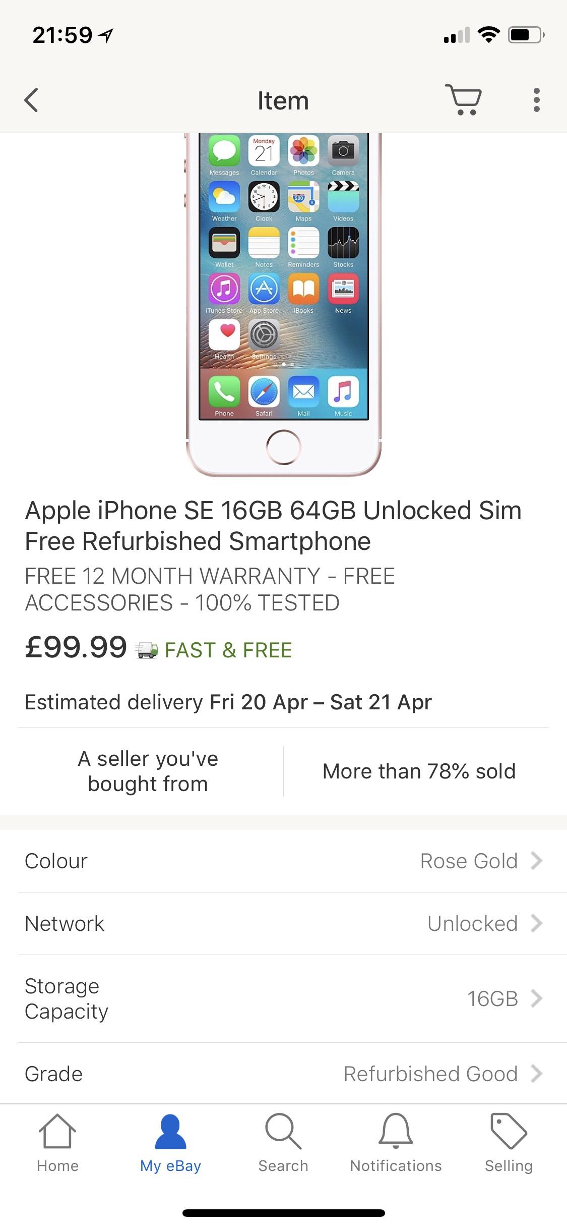 iPhone SE 16GB Rose Gold Unlocked - £99.99 @ eBay (seller: envirofoneshop)