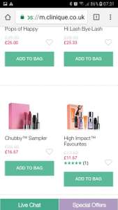 Clinique  various gift sets prices from £11.67. Up to 1/3 rd off with free online delivery.