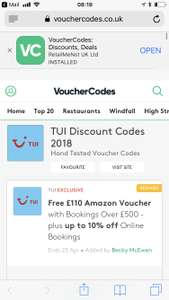 Get an £110 Amazon voucher with bookings over £500 at TUI with vouchercodes
