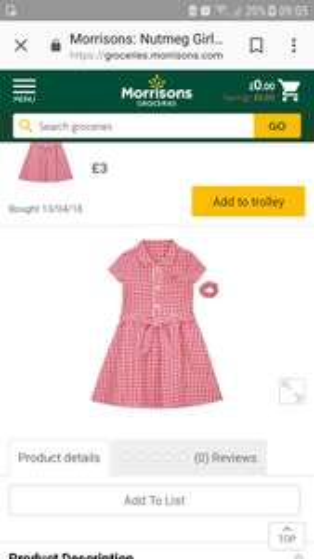 School summer dress Age 8-9 £3 : Morrisons (plus delivery)