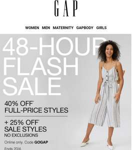 Gap flash sale - 40% off full price items, 25% off sale items  - Online only