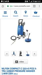 NILFISK COMPACT C 110.4-5 PCD X-TRA 110BAR PRESSURE WASHER 1.4KW 230V  £29.99 at Screwfix