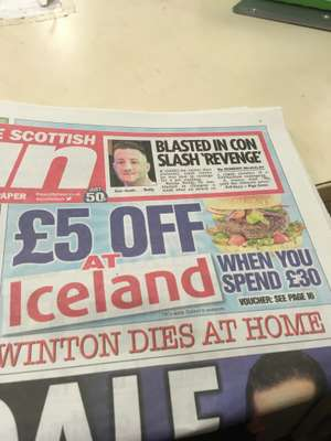Sun offering £5 off £30 @ Iceland