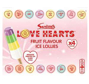 Swizzels Love Hearts Fruit Flavour Ice Lollies 4 pack - Two for £3 @ Morrisons (or £2.25 per pack)