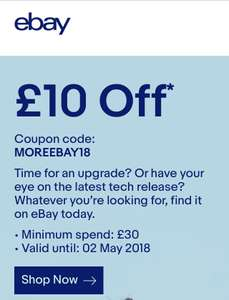 £10 off orders over £30 @ eBay (account specific)