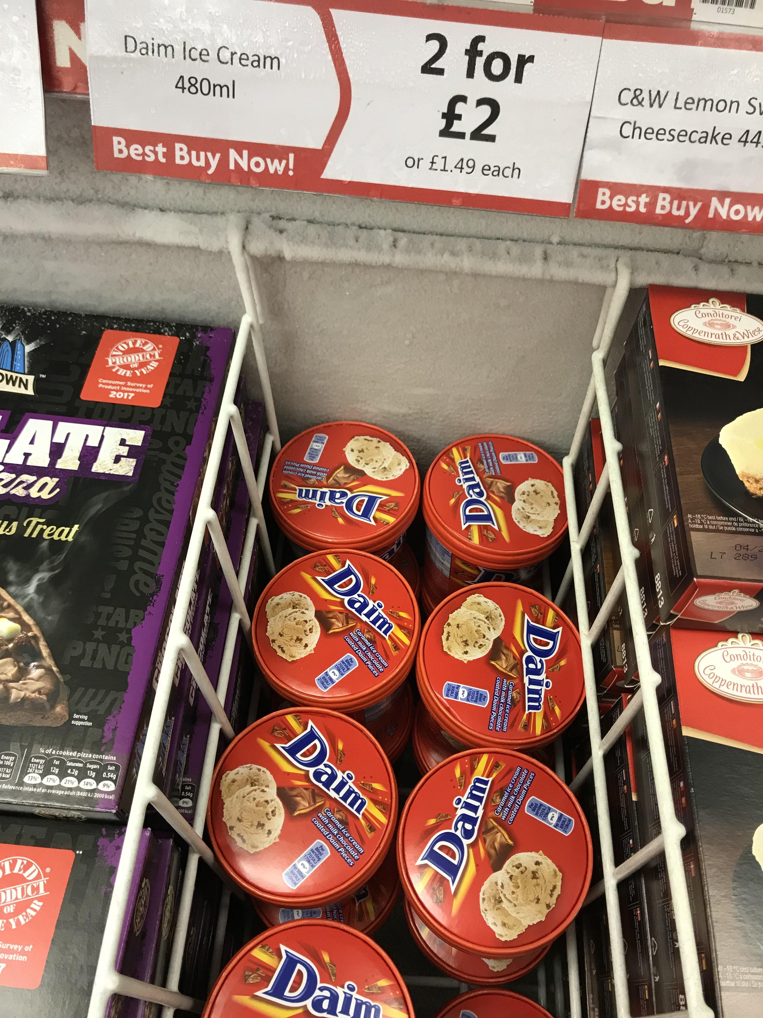 2 daim ice cream tubs for £2 - heron foods