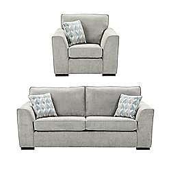 Boston Armchair + 3 Seater Sofa Set, Light Grey - £418 Free Delivery with Tesco saver