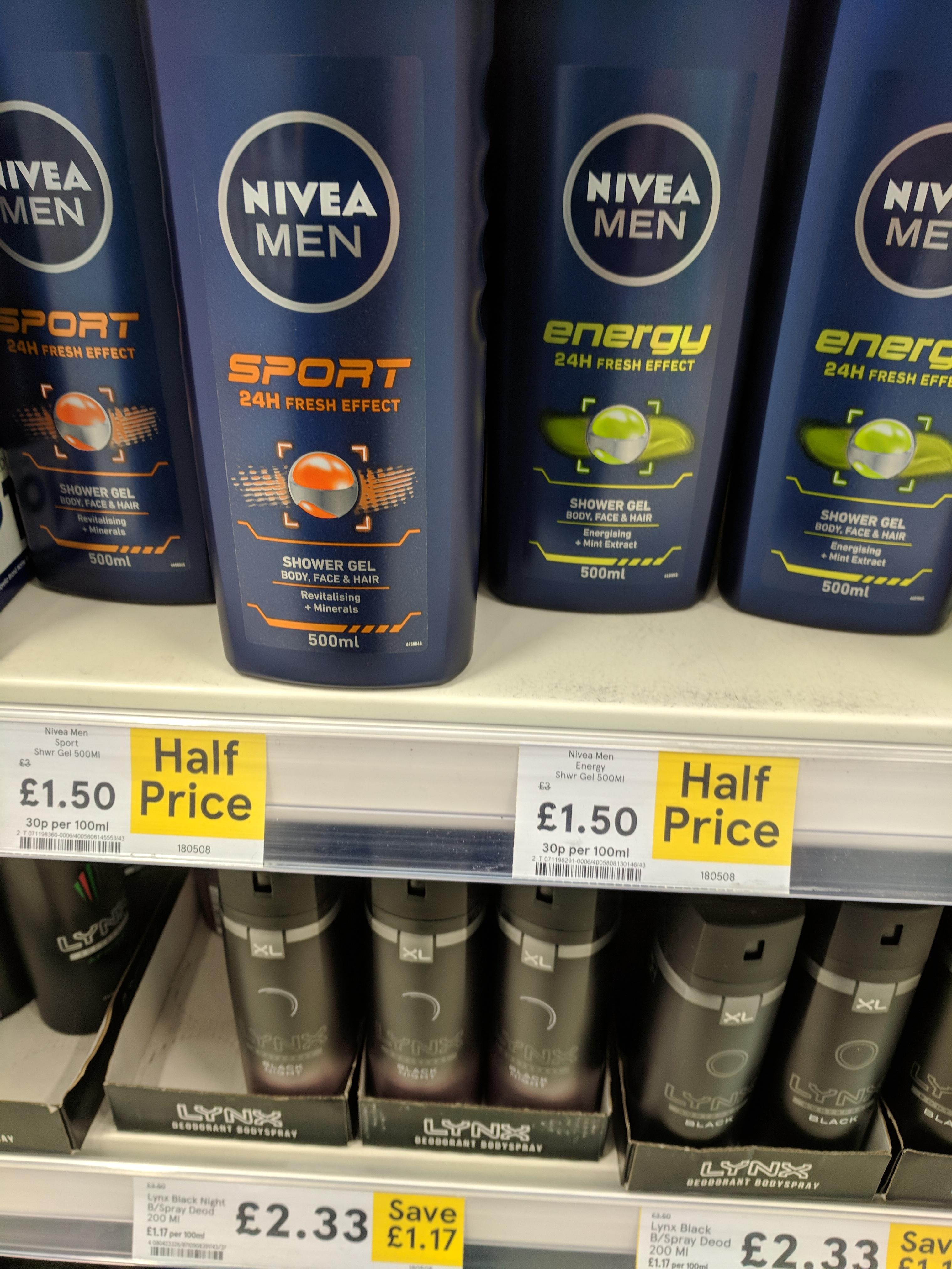 HALF PRICE - Nivea Men Shower Gel 500ml (various) at Tesco - £1.50