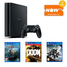 PS4 Slim 500GB with God of War + Doom + Destiny 2 + Now TV (2 month entertainment pass) £249.99 @ Game