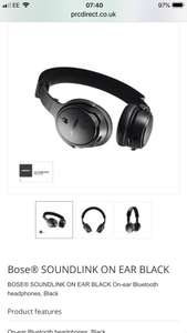 BOSE SOUNDLINK ON EAR BLACK On-ear Bluetooth headphones, Black £139 at PRC Direct
