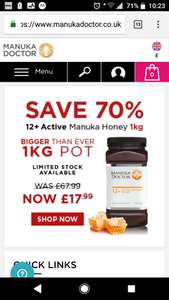 1kg 12+ Active Manuka Honey £17.99 + £3.50 delivery at Manuka Doctor