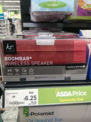 Kitsound Boombar + Bluetooth Speaker Red @ £6.25  Instore Asda ( Aintree)