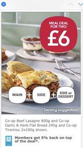 Coop meal deal £6 Beef Lasagne, Garlic & Herb Flat Bread & Co-op Tiramisu @ co-op