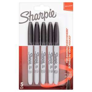 Sharpie Permanent Markers Black 5 Pack - only £2.50 @ Tesco Direct (Free C&C) & Tesco Grocery