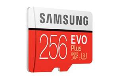 Samsung 256GB 95 MB/s C. 10 U3 Mem Evo Plus MicroSD card. Sold by Amazon