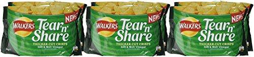 Walkers Tear & Share Salt and Malt Vinegar Thicker Cut Crisps, 150 g (Pack of 6) amazon prime
