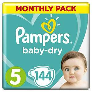 Pampers Baby-Dry Size 5, 144 Nappies, 11-23 kg, Air Channels for Breathable Dryness Overnight, Monthly Pack £14.77 Prime Exclusive @ Amazon