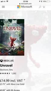 Unravel £3.75 with Xbox gold