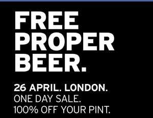 Free pint in London on April 26th