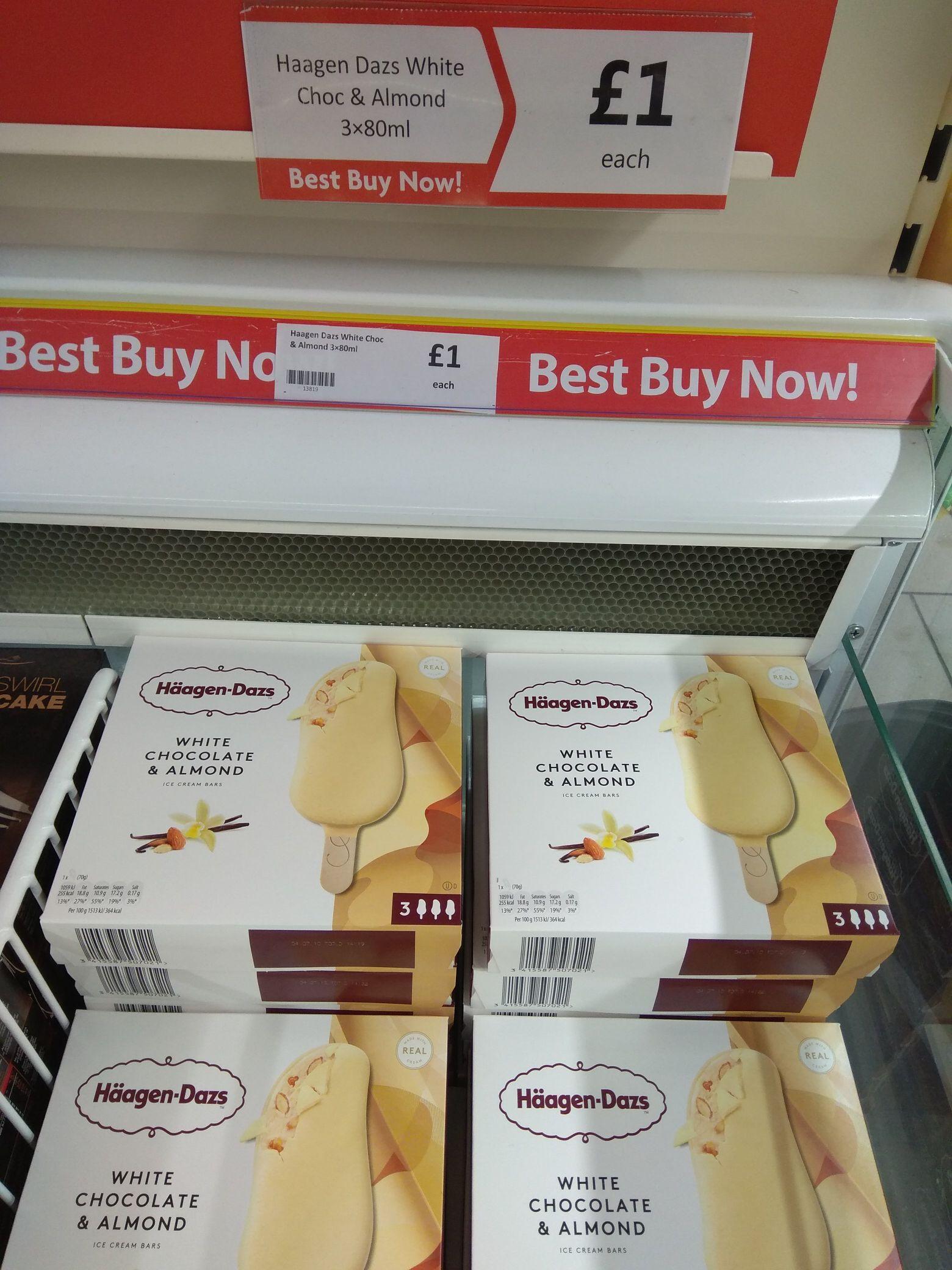 Haagen-Dazs white chocolate and almond Ice cream bars 3 x 80ml - £1 @ Heron foods