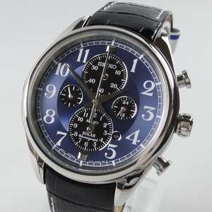 Seiko SSC209P9 Solar Chronograph Black Leather Strap Watch - £89.50 delivered or free click and collect at F.Hinds