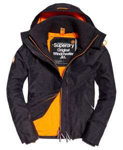 New Mens Superdry Pop Zip Hooded Arctic Sd-Windcheater Charcoal Marl/Fluro £44.99 Superdry Ebay