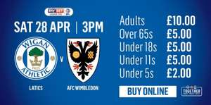 Wigan athletic promotion party £10 for adults £5 for U18