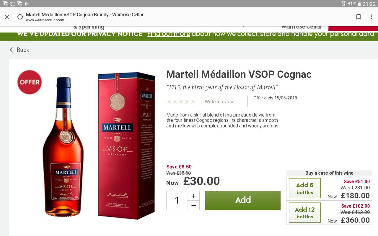 Martell VSOP Medallion £30 @ Waitrose