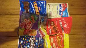 Bags of chocolates (Smarties, Caramac, Munchies, Yorkie, Milkybar 50p at Asda