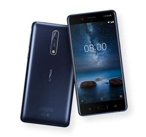 """Nokia 8 (""""8 Plus"""": 6GB/128GB) Glossy Blue 5.3in QHD £309.99 taken with a rolling contract (poss £50 tcb) or £349.99 SIM free."""