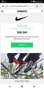 20% off Nike store for students @ unidays