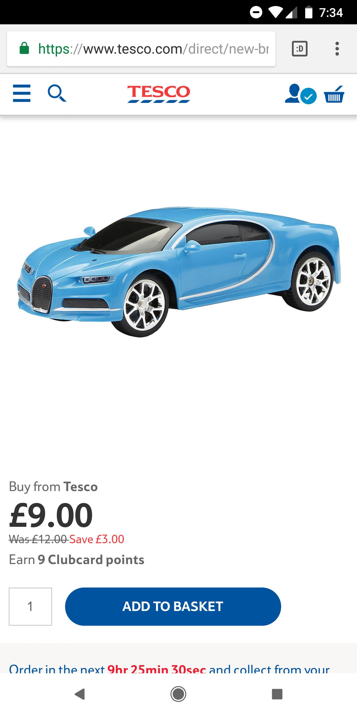 New Bright 1 24 Bugatti Chiron @ Tesco free c + c for £9