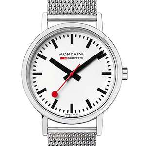 Mondaine Men's Classic 36 mm Watch with Stainless Steel polished Case white Dial and milanaise mesh bracelet Strap £89 - Amazon