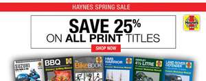 Haynes Manuals 25% off Printed copies with free UK delivery direct from Haynes.